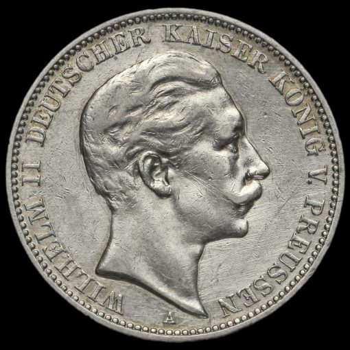 German States, Prussia Wilhelm II 1909A Silver 3 Mark Obverse