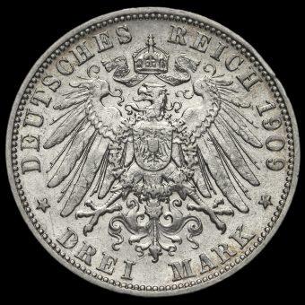 German States, Prussia Wilhelm II 1909A Silver 3 Mark Reverse