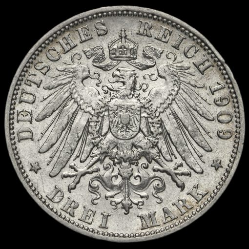 German States, Prussia Wilhelm II 1909A Silver 3 Mark Reverse