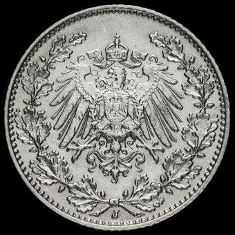 Germany 1909 J Wilhelm II Silver 1/2 Mark Obverse