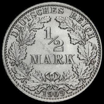Germany 1909 J Wilhelm II Silver 1/2 Mark Reverse