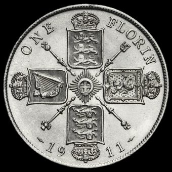 1911 George V Silver Florin Reverse