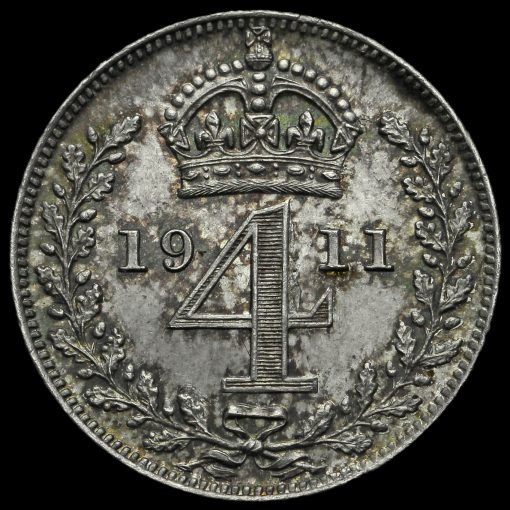 1911 George V Silver Maundy Fourpence Reverse