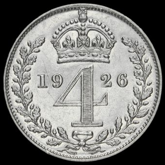 1926 George V Silver Maundy Fourpence Reverse