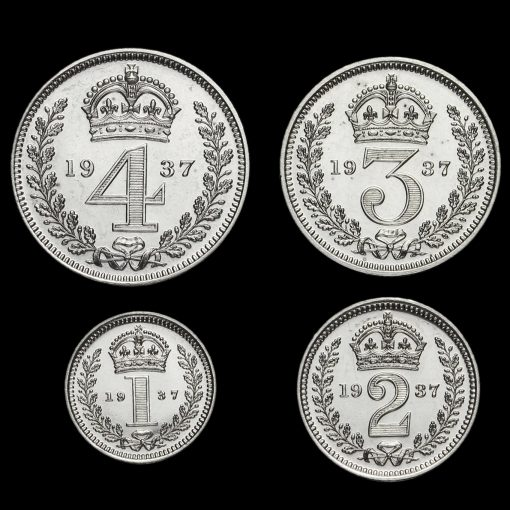 1937 George VI Silver Proof Maundy Set Reverse
