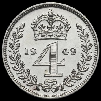 1949 George VI Silver Maundy Fourpence Reverse