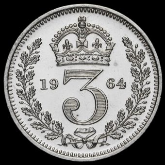 1964 Elizabeth II Silver Maundy Threepence Reverse