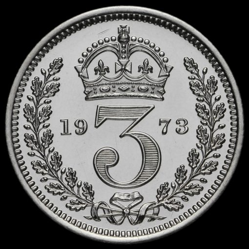 1973 Elizabeth II Silver Maundy Threepence Reverse