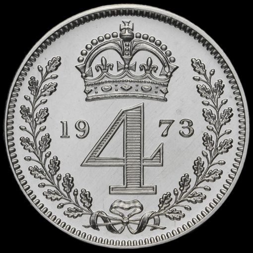 1973 Elizabeth II Silver Maundy Fourpence Reverse