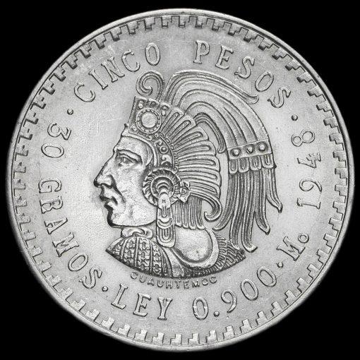 Mexico 1948 Silver 5 Pesos Reverse