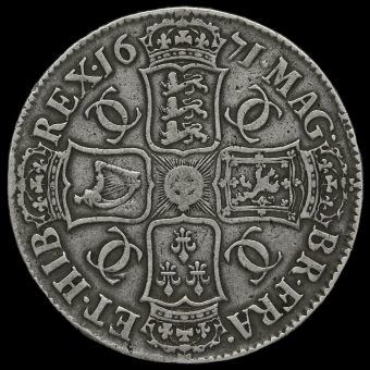 1671 Charles II Early Milled Silver Vicesimo Tertio Crown Reverse