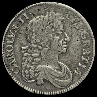 1676 Charles II Early Milled Silver Vicesimo Octavo Crown Obverse