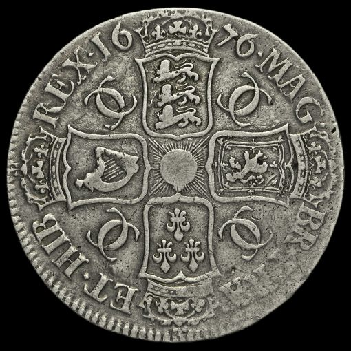 1676 Charles II Early Milled Silver Vicesimo Octavo Crown Reverse
