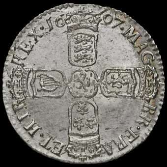 1697 William III Early Milled Silver Sixpence Reverse