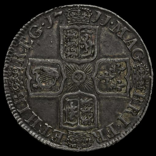 1711 Queen Anne Early Milled Silver Shilling Reverse