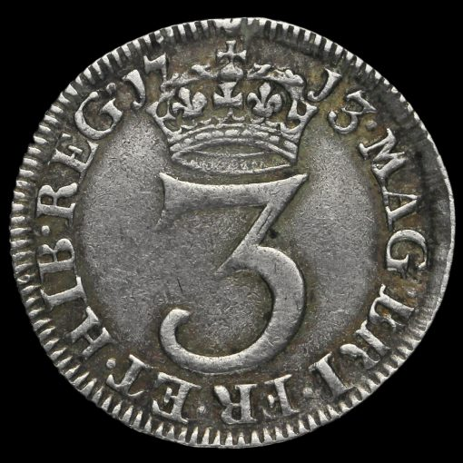 1713 Queen Anne Early Milled Silver Maundy Threepence Reverse