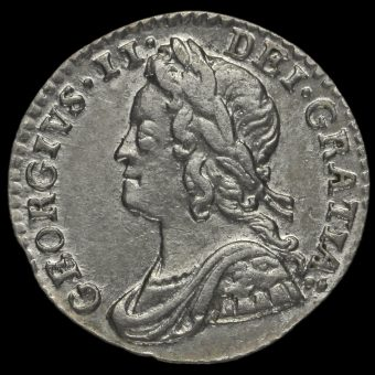 1755 George II Early Milled Silver Maundy Penny Obverse