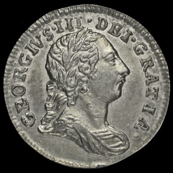 1784 George III Early Milled Silver Maundy Twopence Obverse