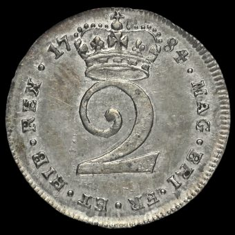 1784 George III Early Milled Silver Maundy Twopence Reverse