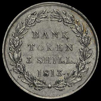1813 George III Silver Three Shillings Bank Token Reverse