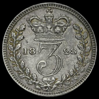 1828 George IV Milled Silver Maundy Threepence Reverse