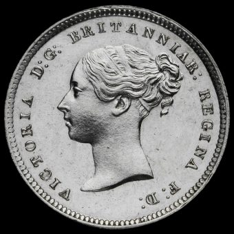 1865 Queen Victoria Young Head Silver Maundy Fourpence Obverse