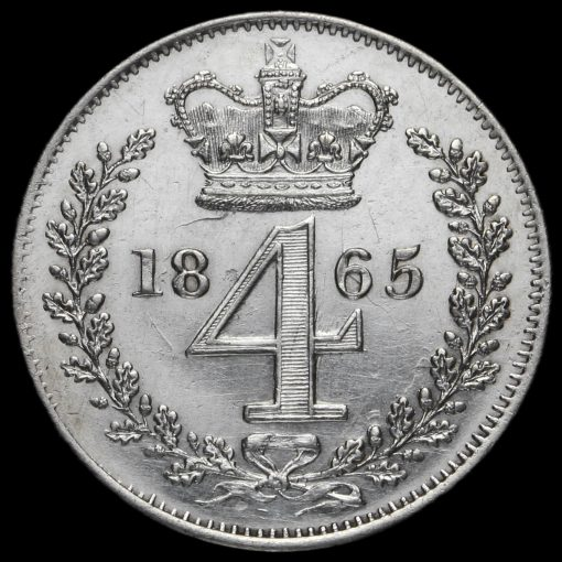 1865 Queen Victoria Young Head Silver Maundy Fourpence Reverse