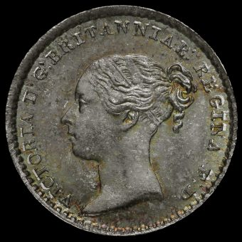 1869 Queen Victoria Young Head Silver Maundy Penny Obverse
