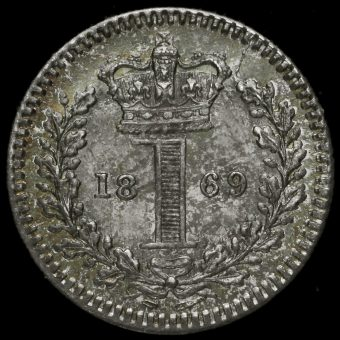 1869 Queen Victoria Young Head Silver Maundy Penny Reverse