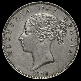1874 Young Head Silver Half Crown Obverse