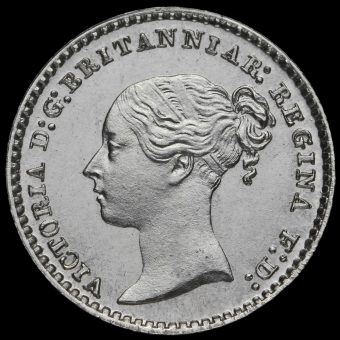 1875 Queen Victoria Young Head Silver Maundy Penny Obverse