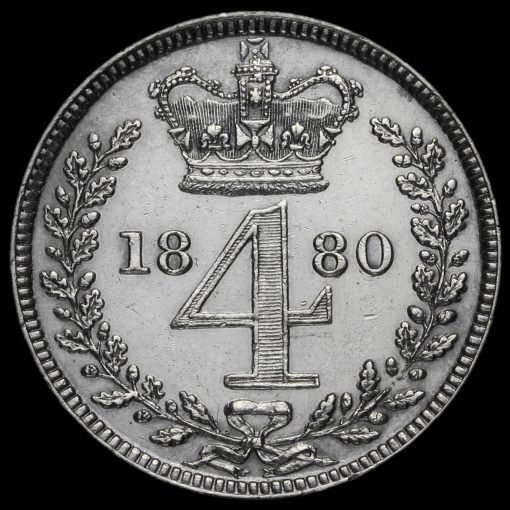 1880 Queen Victoria Silver Maundy Fourpence Reverse