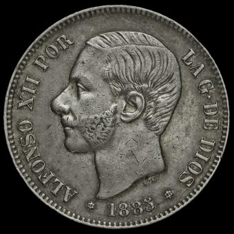 Spain 1885 Alfonso XII Silver 5 Pesetas Obverse