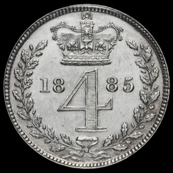 1885 Queen Victoria Silver Maundy Fourpence Reverse