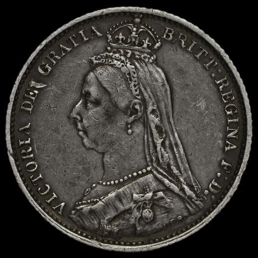 1887 Victoria Jubilee Head Silver Sixpence Obverse