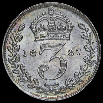 1887 Queen Victoria Jubilee Head Silver Threepence Reverse