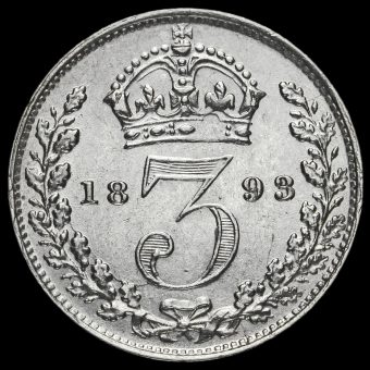 1893 Queen Victoria Jubilee Head Silver Threepence Reverse