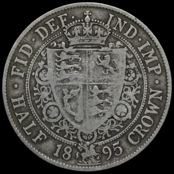 1895 Queen Victoria Veiled Head Silver Half Crown Reverse