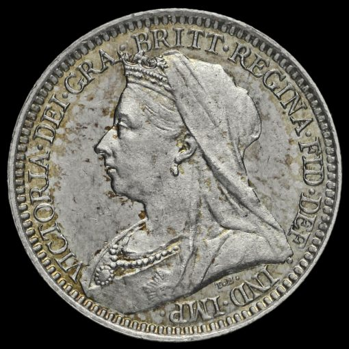 1897 Queen Victoria Veiled Head Silver Maundy Twopence Obverse