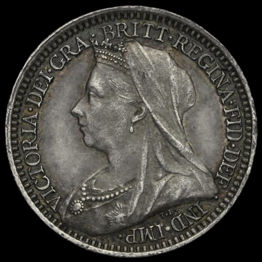 1899 Queen Victoria Veiled Head Silver Maundy Twopence Obverse