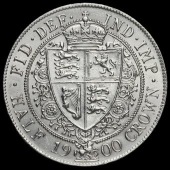 1900 Queen Victoria Veiled Head Silver Half Crown Reverse