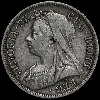 1901 Queen Victoria Veiled Head Silver Half Crown Obverse