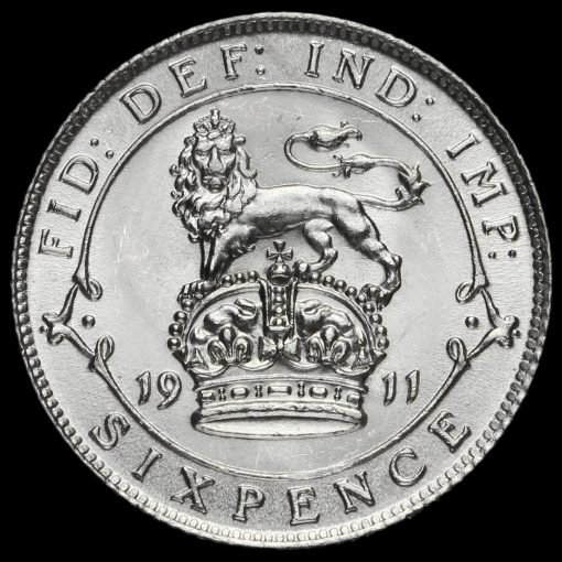 1911 George V Silver Sixpence Reverse