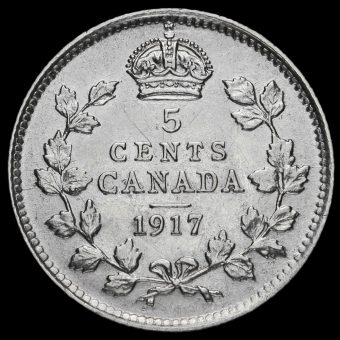 Canada 1917 George V Silver 5 Cents Reverse
