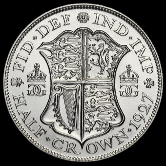 1927 George V Silver Proof Half Crown Reverse