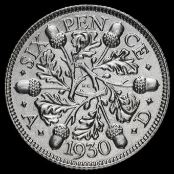 1930 George V Silver Sixpence Reverse
