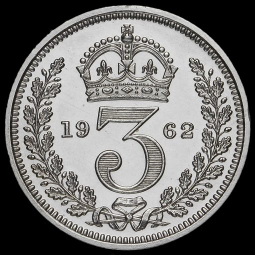 1962 Elizabeth II Silver Maundy Threepence Reverse