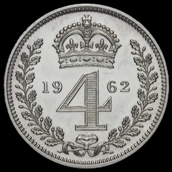1962 Elizabeth II Silver Maundy Fourpence Reverse