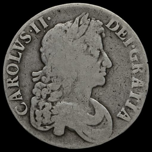1673/2 (3 over 2) Charles II Early Milled Silver Vicesimo Quinto Crown Obverse