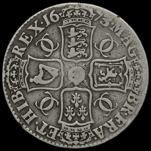 1673/2 (3 over 2) Charles II Early Milled Silver Vicesimo Quinto Crown Reverse